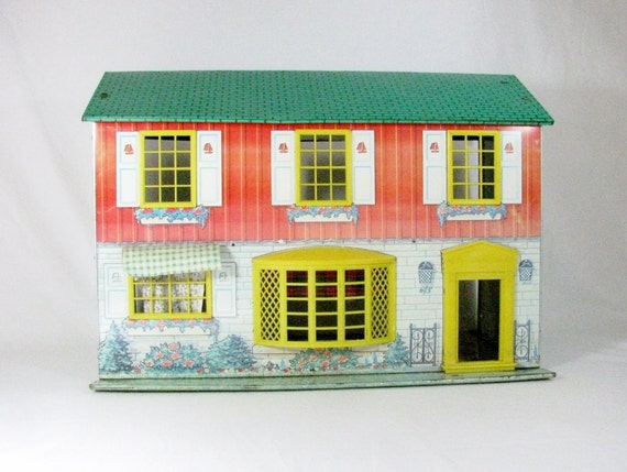 DOLL HOUSE / Tin Lithograph / WOLVERINE Toy Company / 1950s / Mid Century / 2 Story / Made in U.S.A. / Vintage