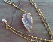Raw Crystal Arrowhead Arrow Head Necklace, Clear Quartz Arrowhead Arrow Head Necklace, Rosary Necklace, Pyrite Necklace