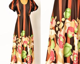 1970s dress / graphic floral print dress / Neo Victorian vertical stripes / 70s maxi dress