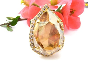 Swarovski Crystal Golden Shadow Big and Bold Pear With Clear Rhinestone Accents, 30x20mm, Big and Bold Jewelry, Drama Queen Statement Ring