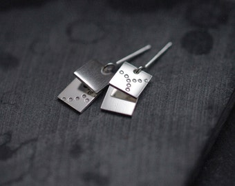 2 tiered Square spangles in soild silver or Vermeil earrings studs