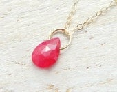 Ruby 14k Solid Gold Necklace, July Birthstone Jewelry, Teardrop Pendant Necklace, Simple Dainty Pendant