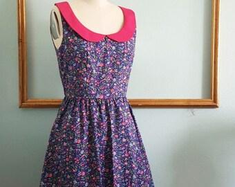 pink peter pan collar floral print  dress - womens retro clothing