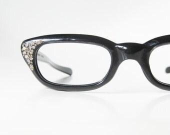 Vintage Cat Eye Glasses Rhinestone Black Midnight Ebony Silver 1960s 60s Sixties Reading Eyeglasses Eyeglass Frames Mad Men Fashion