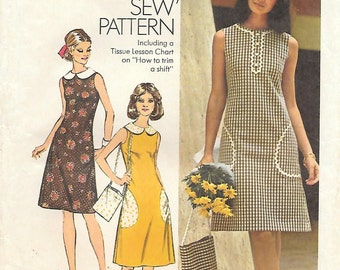 Simplicity 5514 1970s Half-Size Sleeveless Summer Shift Vintage Sewing Pattern Size 18.5 Bust 41