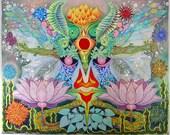 "Psychedelic Outsider Visionary Art - ""In The Garden At Night"" by Michael J Bowman aka Velveeta Heartbreak - Digital ePrint"