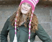 Knit Hat with Cat Ears - Pink White Stripes