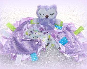 Personalized cute owl lovey, minky security blanket, owl baby rattle and blankie, stuffed owl toy with lovie