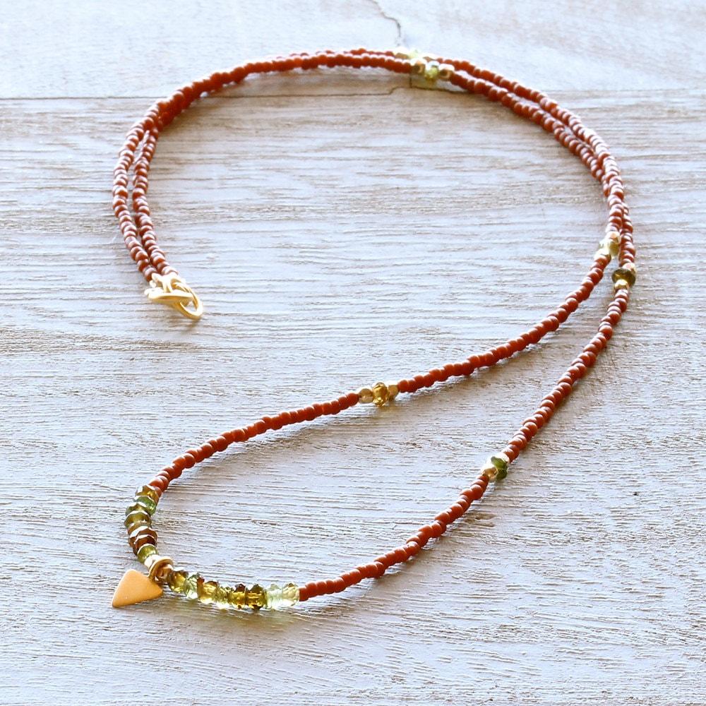 terra cotta japanese seed bead necklace w by alisonblairstudio