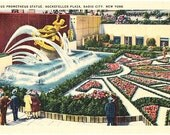 Vintage New York City Postcard - Prometheus Fountain in the Plaza at Rockefeller Center (Unused)