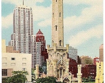 Vintage Chicago Postcard - Old Water Tower and Palmolive Building (Unused)