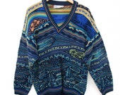 Carlo Alberto Australia Sweater size Mens L Cotton, Long Sleeve V Neck Colorful 3D Patterned Hipster Textured Coogi Style TRIBAL WILD Multi