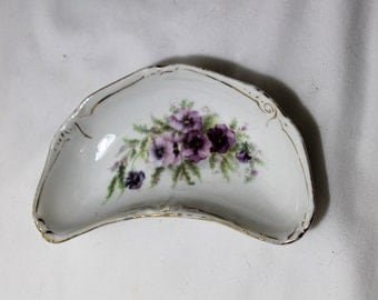 Lovely Shabby Chic Bone Dish with Purple Flowers