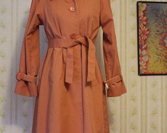 Vintage 1960s Raingear Fashions Raincoat, Trench Coat, 6P, Small
