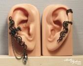 Artemis EAR CUFF SET - cartilage ear cuff, adjustable ear cuff, no piercing ear cuff, bronze ear cuff, elegant jewelry, chain ear wrap