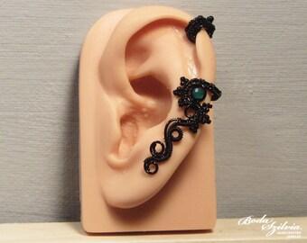 after rain GOTHIC cartilage EAR CUFF -  wire wrapped ear cuff, black ear cuff, aventurine ear cuff, adjustable ear cuff, no piercing earcuff