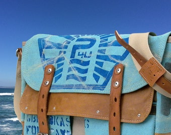 Canvas Messenger Bag, Crossbody Bag, Bluish Green Painted Bag, Distressed Varnished Bag, Recycled Canvas Post Bag / Upcycled in Germany-2182