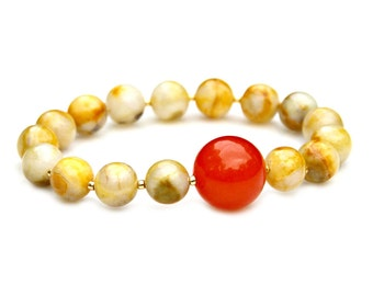 Yellow Agate Bracelet Orange Jade Gold Beaded Stacking Stretch Summer Sunshine Sunny Beach Juicy Jewelry Lemon Lush High Fashion Mei Faith