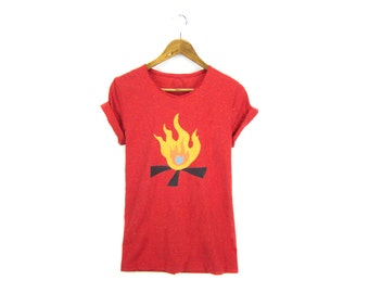 Campfire Tee - Boyfriend Fit Crew Neck T-shirt with Rolled Cuffs in Heather Rainbow Speckle Red & Fire - Women's Size S-3XL