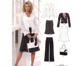Ruffle Hem Jacket, Skirt, Pants, Handbag Pattern New Look 6609 Feminine Suit Size 10 to 22