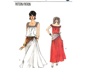 Off The Shoulder Dress Pattern Vogue 8344 Ruffle Shoulder Peasant Dress Flared Skirt Sundress Womens Sewing Pattern Size 6 8 10 UNCUT