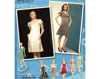 Empire Dress Pattern Simplicity 2965 Sleeveless Dress or Short Sleeves Project Runway Womens Sewing Pattern Size 4 to 12 UNCUT