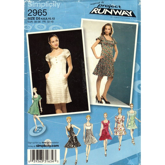 Empire Dress Pattern Simplicity 2965 Sleeveless Short Sleeve Project Runway Women Size 4 to 12