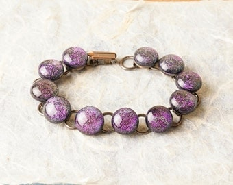 Dichroic Fused Glass and Copper Bracelet