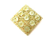 Dazzling Vintage Austria Signed Green Faceted Glass Crystal and Rhinestone & Gold Tone Metal Diamond Shaped Brooch