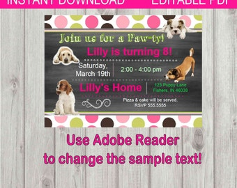 Editable Digital Chalkboard Style Cute Puppies Birthday Girl Party Invitation INSTANT DOWNLOAD