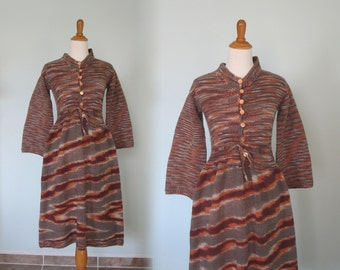 Gorgeous 70s Space Dyed Sweater Dress in Pumpkin, Wine, and Stone - Vintage Autumn Tones Sweater Dress - Vintage 1970s Dress M