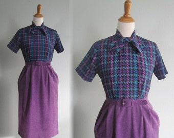 Vintage Purple Plaid Office Dress - 80s Violet Two Tone Dress by Serbin - Vintage 1980s Dress S M