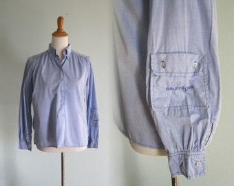 Vintage Chic Blue Cotton Courreges Blouse - 70s Courreges Shirt with Sleeve Pocket - Vintage 1970s Blouse M