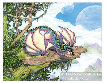 "DISCONTINUED 8""x10"" Open Edition archival art print ""Rainbow Wyvern"" nature forest fantasy dragon jungle"