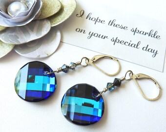 Bermuda Blue Swarovski Sterling Silver Dangle Earrings