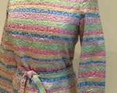 1970s Vintage Pantsuit - Flashy Formal Pant Suit - Mother of Bride - Pastel Lame - 70s Chic - Tunic Top High Waist Pants - 36 Bust 28 Waist