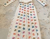 1970s Victorian Style Pleated Skirt and Top - Embroidered - Colorful - Bohemian Wedding - Boho - Pleated Skirt - Prairie Style - 24 Waist XS