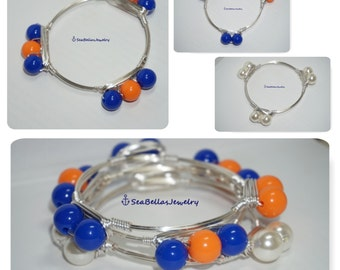 3 stackable Orange Blue Cream UF Gators Bangle Bracelet, stackable bangles, bourbon bowties inspired, Bridal gift, chunky Beads, pearls