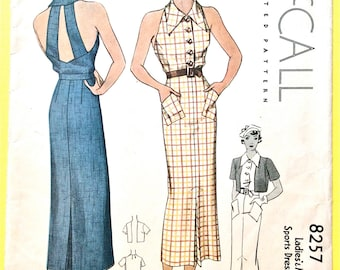 McCall 8257 1930s Halter  Dress Pattern with Eton Bolero Jacket Buton Front Dress Bare Back  Vintage Sewing Pattern Bust 34 Hip 37 inches
