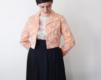 Floral 1960s Pink Cropped Jacket - S