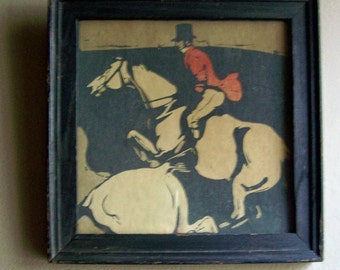Small Vintage Print ~ Fox Hunt ~ Red White Brown & Black ~ Framed Horse and Rider Print