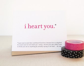 Printable / Funny Love Card / I Heart You Valentine Greeting Card