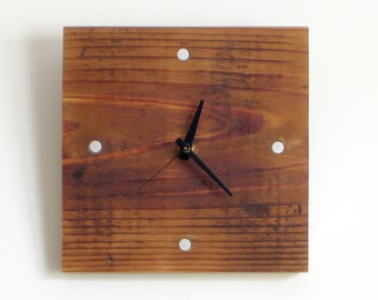 WOOD WALL CLOCK> Father's Day Reclaimed Douglas Fir Small Hanging Clock—Graduation Housewarming Birthday Gift—Horloge Bois/Reloj Madera Eco