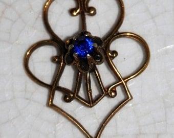 Antique Victorian Edwardian Gold Filled Lavalier Pendant Sapphire Blue
