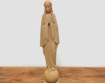 Vintage Small Virgin Mary Statue - Plastic - Blessed Mother Madonna Figurine