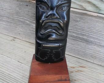 Vintage Hard  Wood Tiki Statue
