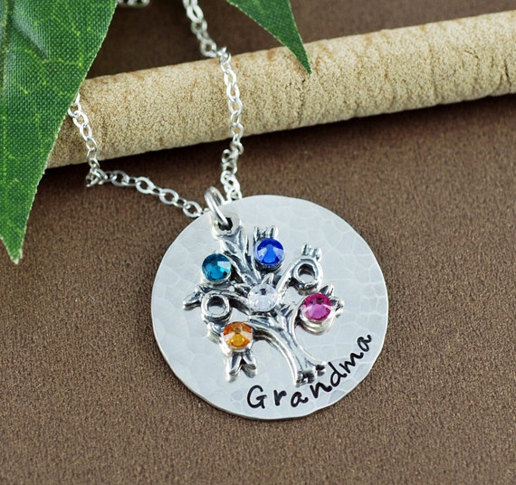 Personalized Family Tree Grandmother Jewelry, Hand Stamped Necklace, Personalized Tree of Life Jewelry,  Family Tree Necklace, Gift for Mom