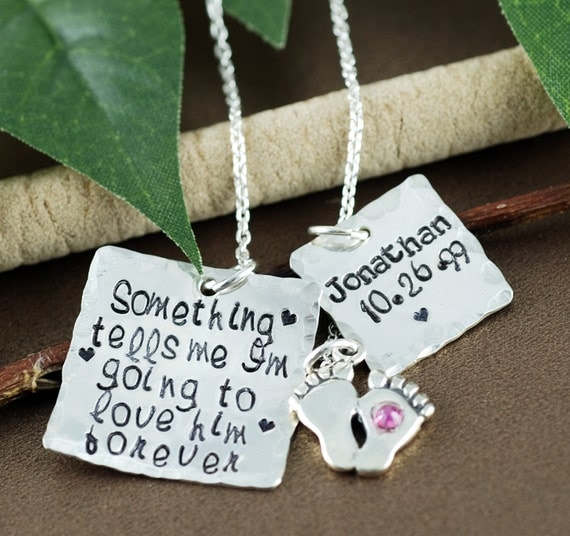 Personalized Mothers Necklace, Baby Feet Necklace, Hand Stamped Mom Necklace, Mothers Name Necklace, Birthstone Necklace, Gift for Mom