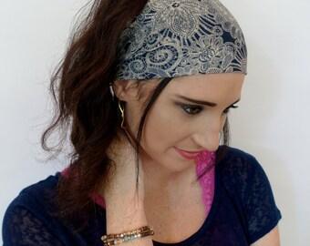 Wide Headband Wrap Paisley Womens Headband Pineapple Bun Wrap Navy Blue & Cream Cotton Silk Head Wrap Head Scarf