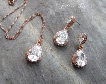Rose Gold, Gold or Silver Vintage Wedding Earring Necklace Set, 1920s earrings, Vintage  pear shaped earrings pendant - 'CAMILLE'